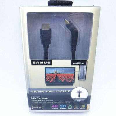 $ CDN32.94 • Buy Sanus PIVOTING HDMI CABLE 2.0 4K 3D Ethernet High Speed Compatible 3.3 Ft. Cord