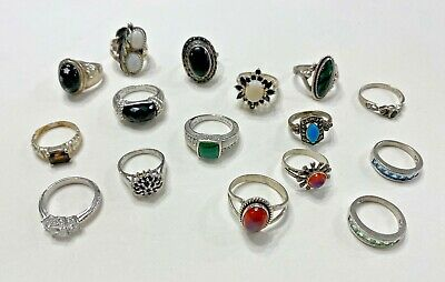 $ CDN80.61 • Buy Lot Of 16 Sterling Silver Gemstone Fashion Rings - Various Sizes