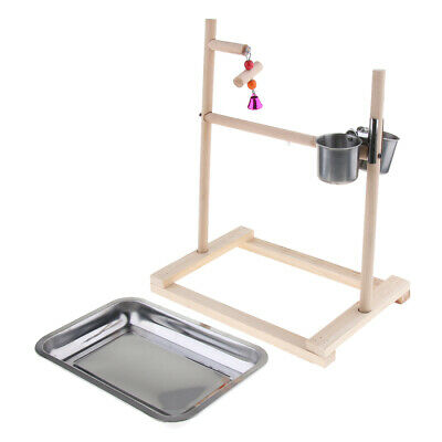 Parrot Bird Perch Table Top Stand W/ Stainless Cups Play For Parakeet Finch UK • 15.74£