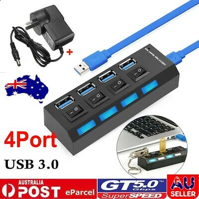 AU18.99 • Buy 4 Port USB 3.0 HUB With Switchs ON/OFF For PC AC Laptop High Output Powered AU