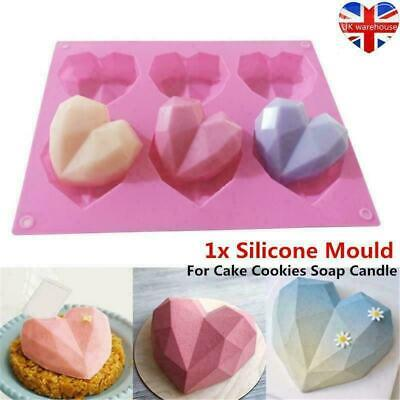 3D Six Diamond Hearts Chunky Heart Silicone Mould Wax Melts Soap Chocolate Mold • 4.29£
