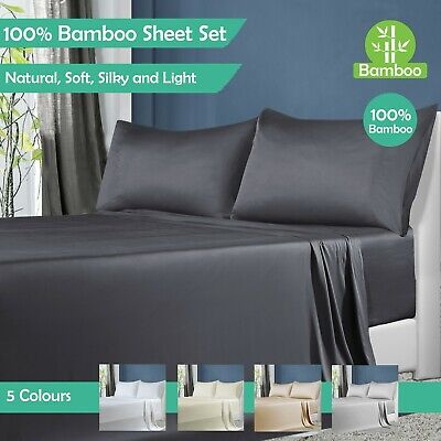 AU69 • Buy 100% Natural Bamboo Sheet Sets Queen King Single Double Flat Fitted Pillow Cases