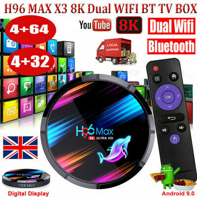 AU78.56 • Buy Newest H96 MAX 8K Android 9.0 5G WIFI BT 32/64G Smart TV BOX Amlogic S905X3