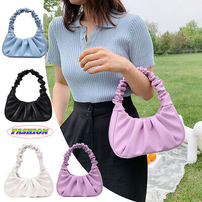 Elegant Pleated Handbag Women Leather Travel Solid Totes Purse Shoulder Bags UK • 9.89£