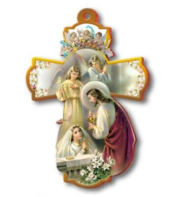 Large 8  FIRST HOLY COMMUNION Wall Cross ~ Girl Jesus Angels Keepsake Gift ~ NEW • 6.90£