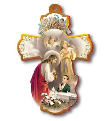 Large 8  FIRST HOLY COMMUNION Wall Cross ~ Boy Jesus Angels Keepsake Gift ~ NEW • 6.40£