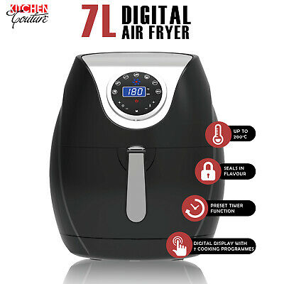 AU119.95 • Buy Kitchen Couture Digital Air Fryer 7L LED Display Low Fat Healthy Oil Free Black