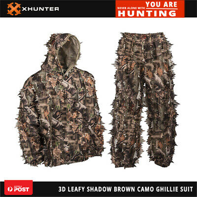 AU60.45 • Buy Xhunter Shadow Brown Camo Leafy 3D Hunting Outdoors Jacket Pants Ghillie Suit