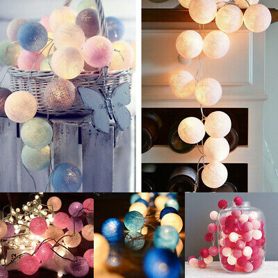 LED Globe Garland Cotton Ball String Fairy Lights Christmas UK Plug In / Battery • 11.22£