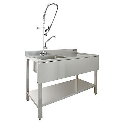 £549.99 • Buy Commercial Sink Catering Kitchen RH Drainer 1.0 Bowl & Pre-Rinse Spray Mixer Tap