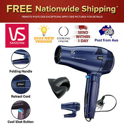 AU72.50 • Buy VS Sassoon Hair Dryer With Retractable Cord Folding Handle Ionic Ceramic New