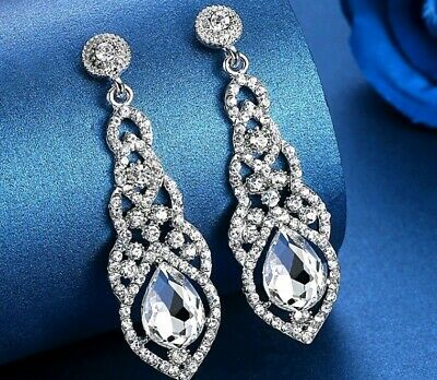 £4.95 • Buy Crystal Simulated Diamond Silver Gold Drop Earrings Wedding Party Jewellery
