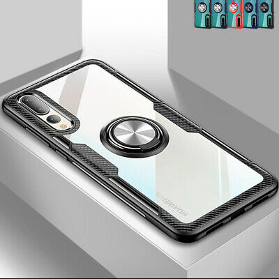 Shockproof Crystal Clear Case Cover Magnetic Ring For Huawei P40 Lite Honor 20 + • 4.49£