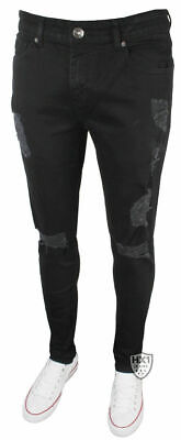 New Mens Enzo EZ383 Super Skinny Stretch Ripped Black Jeans • 16.95£