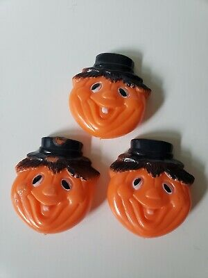 $ CDN30.39 • Buy Vintage Halloween Noisemaker Plastic  Pumpkin Scarecrow Clicker,  Lot Of 3