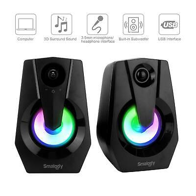 £9.49 • Buy Surround Sound System LED PC Speakers Gaming Bass USB Wired For Desktop Computer