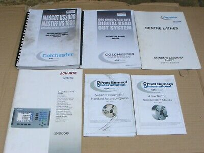 Colchester Mascot Vs2000 & Mastiff Vs1800  Instruction Manual And 5 Catalogues   • 50£