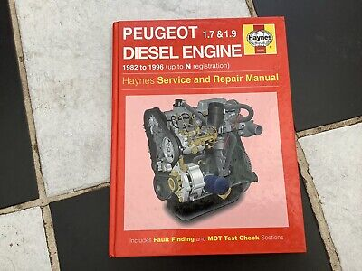 PEUGEOT DIESEL ENGINE 1982 - 1996 (up To N Reg) HAYNES SERVICE AND REPAIR MANUAL • 2.99£