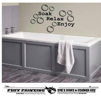 BATHROOM StickerDecal Soak Relax Enjoy Quote Wall Art DIY** • 2.89£