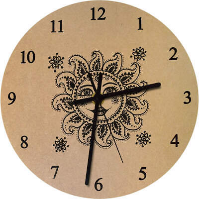 275mm 'Sun With Face' Large Wooden Clock (CK00019096) • 14.99£