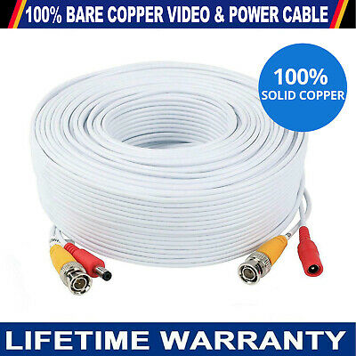 Bnc Dc White Cctv Security Video Camera Dvr Data Power Extension Cable 1m - 100m • 4.45£