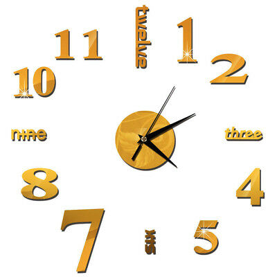 Large Number Wall Clock 3D Mirror Sticker Modern Home Office Decor Art Decal DIY • 4.59£