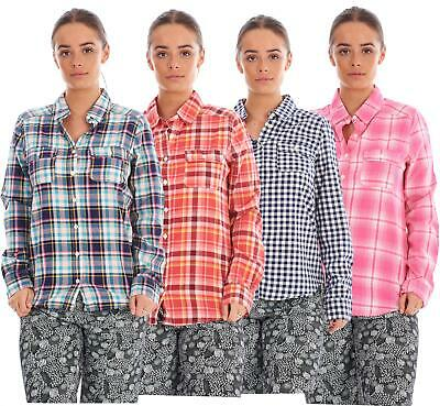 Ladies 100% Cotton Casual Check Shirt Long Sleeve Pockets Collar Buttons Blouses • 7.99£