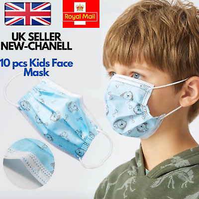 UK Childrens Kids Face Mask Breathable Disposable Mouth Protection 10pcs 3 PLY • 3.29£
