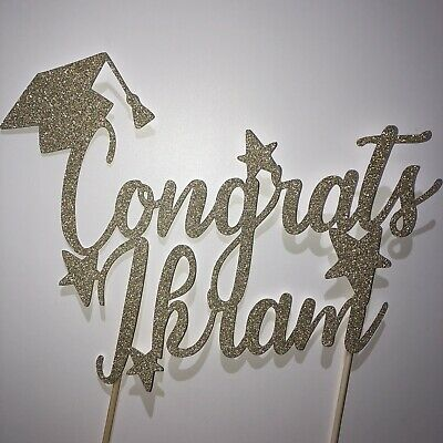 Personalised Glitter Graduation Congrats Cake Topper Party Decoration • 4.99£