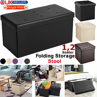 Faux Leather Ottoman Pouffe Large Storage Box Foot Stools 1 2 Seater Bench Seat • 12.99£