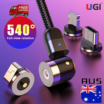 AU5.29 • Buy AU Fast Magnetic Braided 540º Type-C Micro USB IOS Charging Cable Charger 1-3M