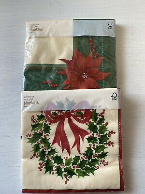 Two Packets Of Sainsburys Linen-Feel Christmas Wreath & Poinsettia Paper Napkins • 5.09£