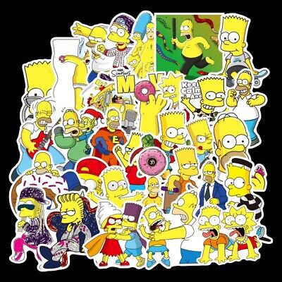 £3.99 • Buy Simpsons Themed 50 Stickers Skateboard Laptop Car Phone Decal Stickerbomb UK NEW