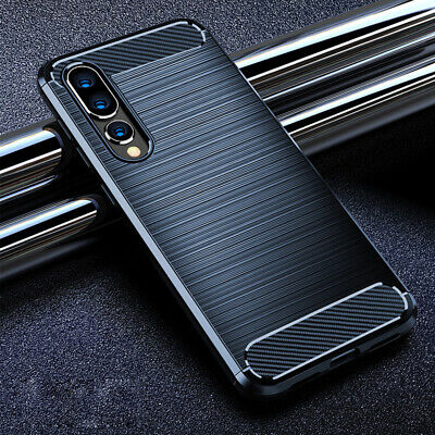 Mans Matte Carbon Fibre Soft Rubber Silicone Case Cover For Huawei Y9 2019 P30 + • 4.68£