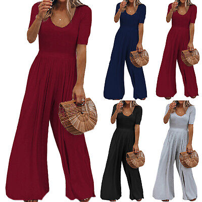 Women Baggy Romper Wide Leg Harem Pants Trousers Jumpsuit Loose Playsuits Casual • 13.29£