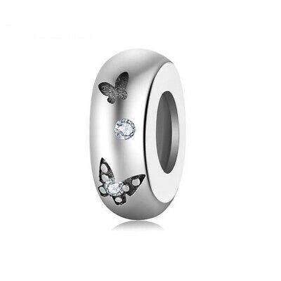 AU23.99 • Buy SOLID Sterling Silver Non Slip Spacer Pretty Butterfly Charm - By Pandora's Wish