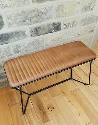 Genuine Leather Bench Seat Vintage Industrial Style • 144.99£