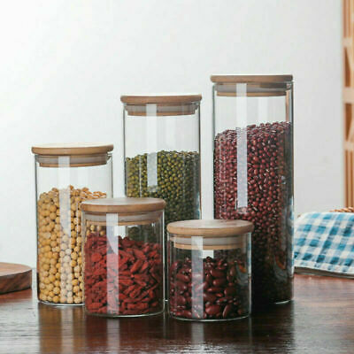 Clear Glass Jar Food Storage Canister With Bamboo Lid For Coffee Bean Sugar Salt • 8.05£