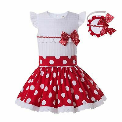 UK Red Spanish Polka Dot Girls Shirt Top Skirt Set Wedding Party Outfits Pageant • 30.29£