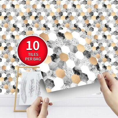 3D Mosaic Tiles Wall Sticker Self-adhesive Removable Waterproof Kitchen Decor • 8.16£