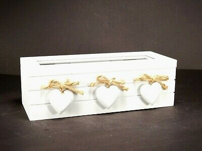 White Box With 3 Hearts Wooden Tea / Trinket Storage Box With 3 Compartments • 13.99£