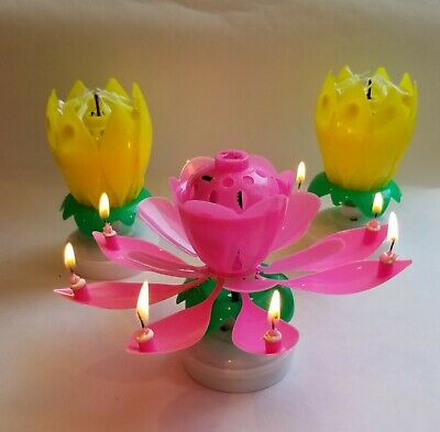 $ CDN18.82 • Buy 3 PACK - Amazing Lotus Flower Musical Birthday Candle - 3 PACK 2 Yellow 1 Pink