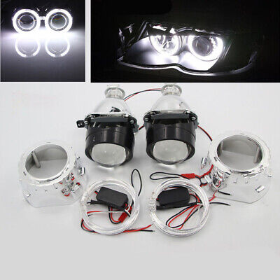 $49.59 • Buy 2.5  HID Bi-xenon Projector Lens LHD/RHD Headlight With Light Guide Angel Eye H1