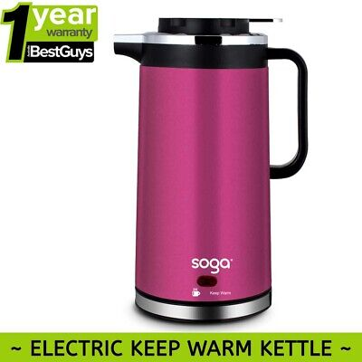 AU27.90 • Buy SOGA 1.7L Stainless Steel Cordless Kettle Keep Warm Water Jug Electric LED