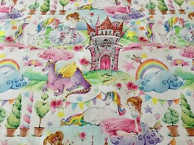 Fairytale Kingdom Princess Dragon Castle 100% Cotton Fabric Fat Quarter 50x50cm  • 2£
