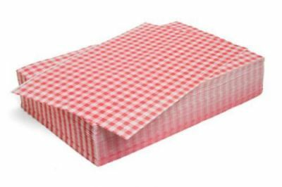 £6.17 • Buy BRAND NEW Chips Basket Liners RED Gingham  Paper Food Wrap Greaseproof 25X35cm