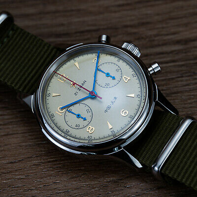 $ CDN222.12 • Buy Seagull 1963 Watch Chronograph Movement Nylon Leather Strap Vintage Sapphire