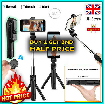 Telescopic Selfie Stick Bluetooth Tripod Monopod Phone Holder For IPhone Samsung • 7.49£