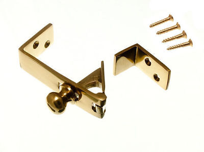 3 Of Brass Counter Flap Catch And Stay Solid Polished Brass With Screws 17g9 • 17.75£