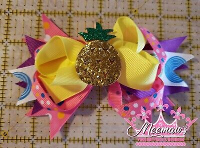 £3.55 • Buy L@@K! BIG Bright Neon Colorful Boutique Style SHINY PINEAPPLE Hair Bow! SO FUN!!